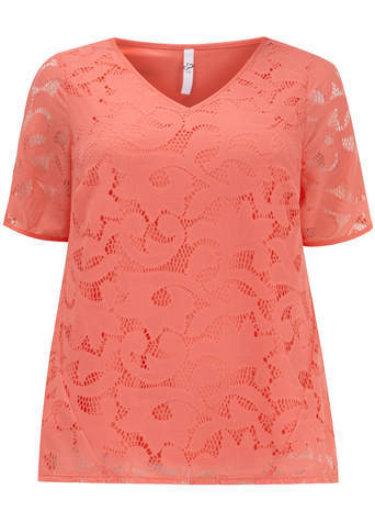 Coral Lace Shell Top - neckline: v-neck; predominant colour: coral; occasions: casual, work, creative work; length: standard; style: top; fibres: polyester/polyamide - 100%; fit: body skimming; sleeve length: short sleeve; sleeve style: standard; texture group: lace; pattern type: fabric; pattern: patterned/print; embellishment: lace; season: s/s 2014