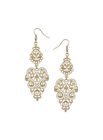 Gold Filigree Drop Earrings - predominant colour: gold; occasions: evening, occasion; style: chandelier; length: long; size: standard; material: chain/metal; fastening: pierced; finish: metallic; season: s/s 2014