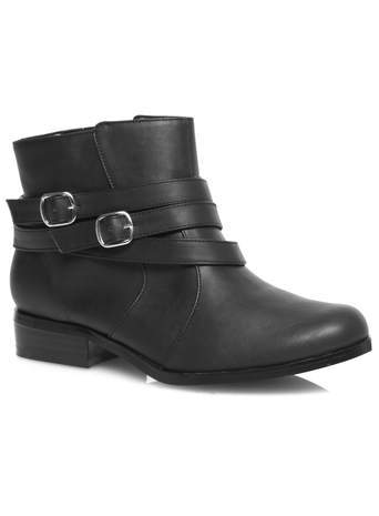 Black Dual Buckle Strap Ankle Boot - predominant colour: black; occasions: casual; material: faux leather; heel height: flat; embellishment: buckles; heel: standard; toe: round toe; boot length: ankle boot; style: biker boot; finish: plain; pattern: plain; season: s/s 2014