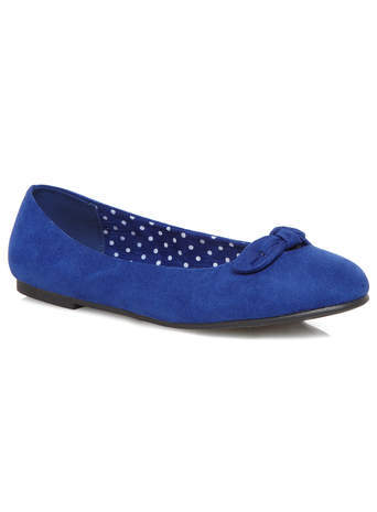 Blue Suedette Bow Pump - predominant colour: royal blue; occasions: casual, work, creative work; heel height: flat; toe: round toe; style: ballerinas / pumps; finish: plain; pattern: plain; embellishment: bow; material: faux suede; season: s/s 2014; trends: zesty shades