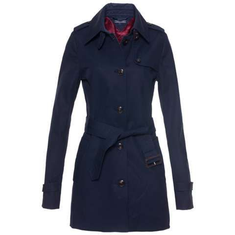 New Heritage Short Trench Coat, Midnight Blue - pattern: plain; shoulder detail: obvious epaulette; style: single breasted; length: mid thigh; predominant colour: navy; occasions: casual, creative work; fit: tailored/fitted; fibres: cotton - 100%; collar: shirt collar/peter pan/zip with opening; waist detail: belted waist/tie at waist/drawstring; sleeve length: long sleeve; sleeve style: standard; texture group: cotton feel fabrics; collar break: high; season: s/s 2014