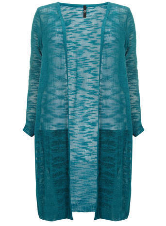 Teal Textured Knit Cardigan - pattern: plain; neckline: collarless open; style: open front; length: below the knee; predominant colour: teal; occasions: casual; fibres: acrylic - mix; fit: loose; sleeve length: long sleeve; sleeve style: standard; texture group: knits/crochet; pattern type: fabric; season: s/s 2014