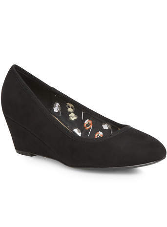 Black Suedette Wedge - predominant colour: black; secondary colour: black; occasions: casual, work; material: faux leather; heel height: high; heel: wedge; toe: pointed toe; style: courts; finish: plain; pattern: plain; season: s/s 2014