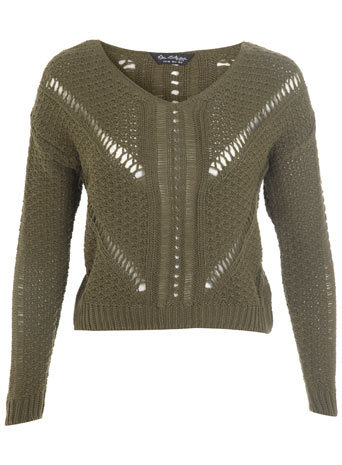 Khaki Ladder Stitch Jumper - neckline: v-neck; style: standard; pattern: cable knit; predominant colour: khaki; occasions: casual, creative work; length: standard; fibres: acrylic - 100%; fit: standard fit; sleeve length: long sleeve; sleeve style: standard; texture group: knits/crochet; pattern type: knitted - big stitch; season: s/s 2014