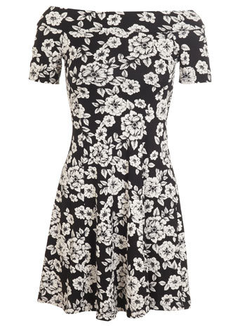Floral Bardot Dress - length: mid thigh; neckline: off the shoulder; secondary colour: ivory/cream; predominant colour: black; occasions: evening; fit: fitted at waist & bust; style: fit & flare; fibres: viscose/rayon - stretch; sleeve length: short sleeve; sleeve style: standard; pattern type: fabric; pattern size: standard; pattern: florals; texture group: jersey - stretchy/drapey; season: s/s 2014