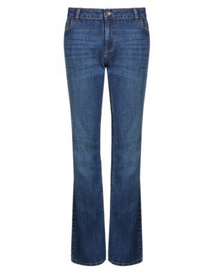 Mid Rise Slim Boot Cut Jeans - style: bootcut; length: standard; pattern: plain; pocket detail: traditional 5 pocket; waist: mid/regular rise; predominant colour: denim; occasions: casual, creative work; fibres: cotton - stretch; jeans detail: whiskering, shading down centre of thigh, dark wash; texture group: denim; pattern type: fabric; season: s/s 2014; trends: 70's summer of love