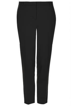 Petite Jet Pocket Cigarette Trousers - pattern: plain; pocket detail: small back pockets; waist: mid/regular rise; predominant colour: black; occasions: casual, evening, work; length: ankle length; fibres: polyester/polyamide - stretch; fit: slim leg; pattern type: fabric; texture group: woven light midweight; style: standard; trends: minimal sleek; season: a/w 2014