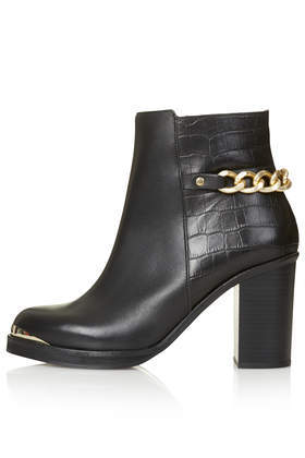 Merit Heeled Leather Ankle Boots - secondary colour: gold; predominant colour: black; occasions: casual, creative work; material: leather; heel height: high; heel: block; toe: round toe; boot length: ankle boot; style: standard; finish: plain; pattern: plain; embellishment: chain/metal; season: a/w 2014