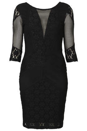 Lace Mix Bodycon Dress - length: mid thigh; neckline: round neck; fit: tight; pattern: plain; style: bodycon; bust detail: sheer at bust; back detail: low cut/open back; shoulder detail: contrast pattern/fabric at shoulder; predominant colour: black; occasions: evening, occasion; sleeve length: 3/4 length; sleeve style: standard; pattern type: fabric; texture group: jersey - stretchy/drapey; fibres: nylon - stretch; embellishment: lace; season: a/w 2014
