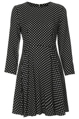 Spotty Swing Dress - length: mid thigh; neckline: round neck; pattern: polka dot; secondary colour: white; predominant colour: black; occasions: casual, creative work; fit: fitted at waist & bust; style: fit & flare; fibres: viscose/rayon - 100%; hip detail: soft pleats at hip/draping at hip/flared at hip; sleeve length: 3/4 length; sleeve style: standard; pattern type: fabric; pattern size: standard; texture group: jersey - stretchy/drapey; season: a/w 2014