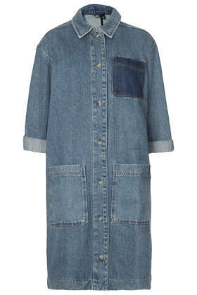 Washed Denim Shirt Dress Boutique - style: shirt; neckline: shirt collar/peter pan/zip with opening; pattern: plain; hip detail: front pockets at hip; secondary colour: navy; predominant colour: denim; occasions: casual, creative work; length: just above the knee; fit: straight cut; fibres: cotton - 100%; sleeve length: 3/4 length; sleeve style: standard; texture group: denim; pattern type: fabric; season: a/w 2014