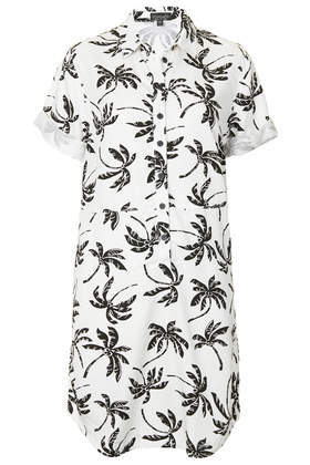 Palm Tree Print Shirt Dress - style: shirt; length: mid thigh; neckline: shirt collar/peter pan/zip with opening; predominant colour: white; secondary colour: black; occasions: casual, holiday; fit: straight cut; fibres: cotton - 100%; sleeve length: short sleeve; sleeve style: standard; texture group: cotton feel fabrics; pattern type: fabric; pattern size: big & busy; pattern: patterned/print; season: a/w 2014