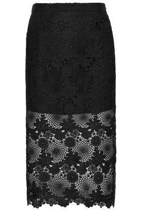 Lace Pencil Skirt - length: below the knee; style: pencil; waist: mid/regular rise; predominant colour: black; occasions: evening, occasion; fibres: polyester/polyamide - 100%; waist detail: feature waist detail; texture group: lace; fit: straight cut; pattern type: fabric; pattern: patterned/print; embellishment: lace; season: a/w 2014; wardrobe: event; embellishment location: all over
