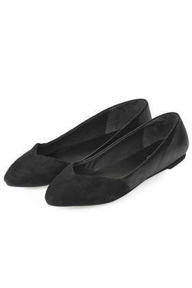 Shorty Slip On Shoes - predominant colour: black; occasions: casual, work, creative work; material: leather; heel height: flat; toe: pointed toe; style: ballerinas / pumps; finish: plain; pattern: plain; season: a/w 2014