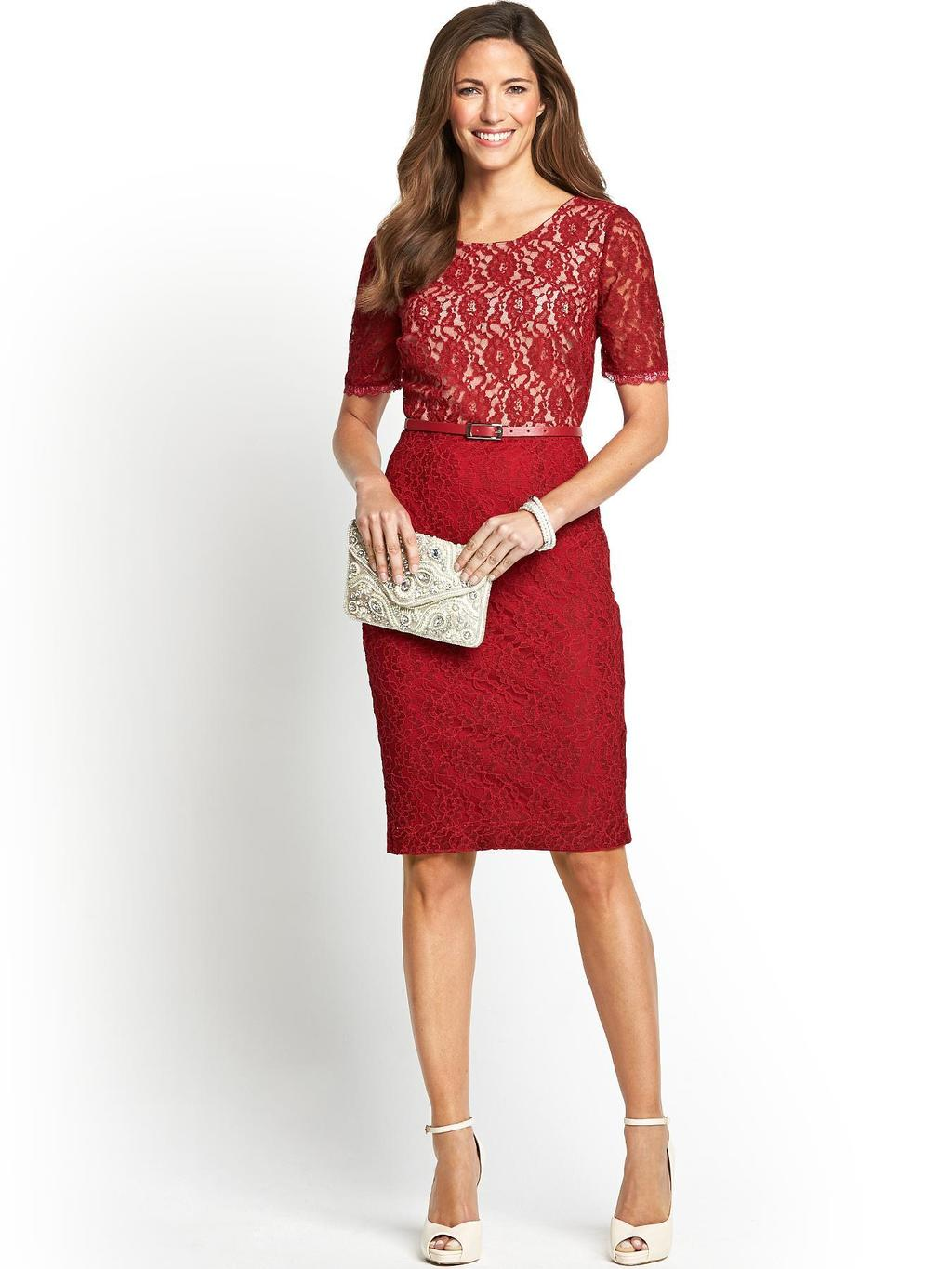 Lace Pencil Dress - style: shift; neckline: round neck; fit: tailored/fitted; waist detail: belted waist/tie at waist/drawstring; predominant colour: true red; occasions: evening, occasion; length: on the knee; fibres: cotton - mix; bust detail: contrast pattern/fabric/detail at bust; sleeve length: short sleeve; sleeve style: standard; texture group: lace; pattern type: fabric; pattern: patterned/print; season: a/w 2014