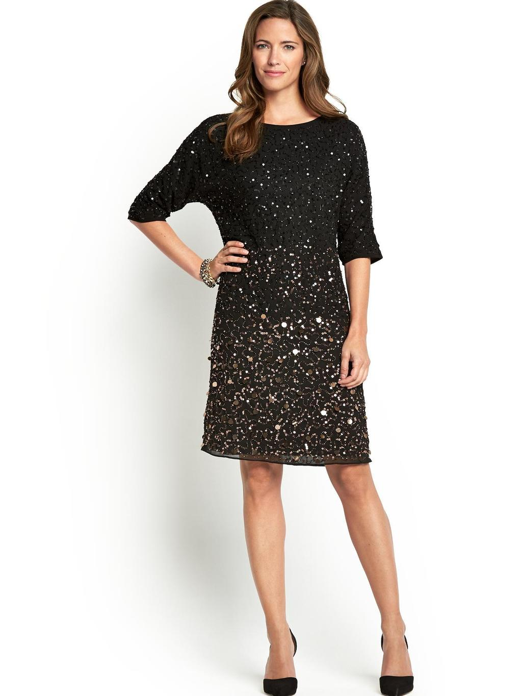 Graduated Split Sleeve Sequin Tunic, Black - style: tunic; neckline: round neck; fit: loose; pattern: plain; predominant colour: black; occasions: evening, occasion; length: just above the knee; fibres: polyester/polyamide - 100%; back detail: keyhole/peephole detail at back; sleeve length: half sleeve; sleeve style: standard; texture group: sheer fabrics/chiffon/organza etc.; pattern type: fabric; embellishment: sequins; season: a/w 2014; wardrobe: event; embellishment location: all over