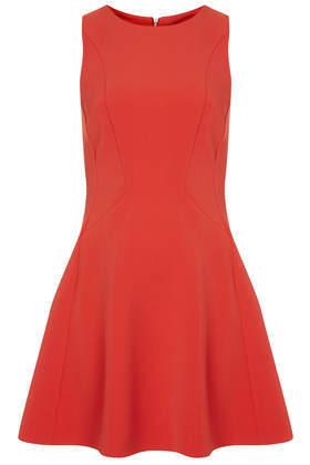 Sleeveless Seam Flippy Dress - length: mid thigh; neckline: round neck; pattern: plain; sleeve style: sleeveless; predominant colour: true red; occasions: evening, occasion; fit: fitted at waist & bust; style: fit & flare; fibres: polyester/polyamide - stretch; hip detail: subtle/flattering hip detail; sleeve length: sleeveless; pattern type: fabric; texture group: jersey - stretchy/drapey; trends: zesty shades; season: a/w 2014
