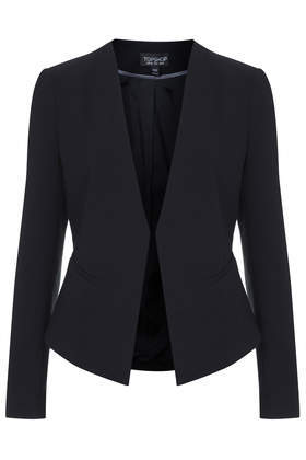 Slim Curve Blazer - pattern: plain; style: single breasted blazer; collar: round collar/collarless; predominant colour: black; occasions: evening, work, creative work; length: standard; fit: tailored/fitted; fibres: polyester/polyamide - mix; sleeve length: long sleeve; sleeve style: standard; collar break: low/open; pattern type: fabric; texture group: woven light midweight; season: a/w 2014
