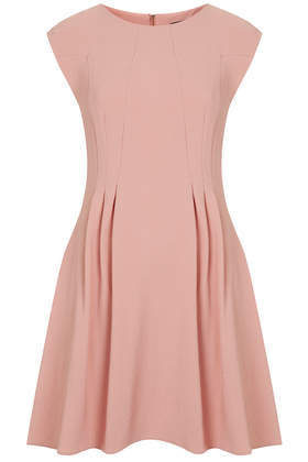 Crepe Seam Flippy Dress - length: mid thigh; neckline: round neck; sleeve style: capped; pattern: plain; predominant colour: pink; occasions: evening, occasion; fit: fitted at waist & bust; style: fit & flare; fibres: polyester/polyamide - stretch; hip detail: adds bulk at the hips; sleeve length: sleeveless; texture group: crepes; pattern type: fabric; season: a/w 2014
