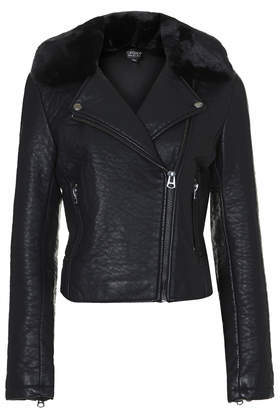 Ultimate Faux Leather Biker Jacket - pattern: plain; style: biker; collar: asymmetric biker; predominant colour: black; occasions: casual, evening, creative work; fit: tailored/fitted; sleeve length: long sleeve; sleeve style: standard; texture group: leather; collar break: high/illusion of break when open; pattern type: fabric; embellishment: fur; fibres: pvc/polyurethene - 100%; season: a/w 2014; length: cropped; wardrobe: basic; embellishment location: neck