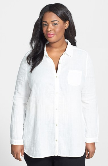 Organic Cotton Classic Collar Shirt (Plus Size) - neckline: shirt collar/peter pan/zip with opening; pattern: plain; length: below the bottom; style: shirt; predominant colour: white; occasions: casual, work, holiday, creative work; fibres: cotton - 100%; fit: body skimming; sleeve length: long sleeve; sleeve style: standard; texture group: cotton feel fabrics; pattern type: fabric; season: a/w 2014