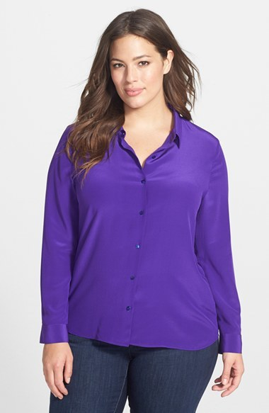 Classic Collar Silk Crepe Shirt (Plus Size) - neckline: shirt collar/peter pan/zip with opening; pattern: plain; style: shirt; predominant colour: diva blue; occasions: casual, evening, work, creative work; length: standard; fibres: silk - 100%; fit: body skimming; sleeve length: long sleeve; sleeve style: standard; texture group: crepes; pattern type: fabric; trends: zesty shades; season: a/w 2014