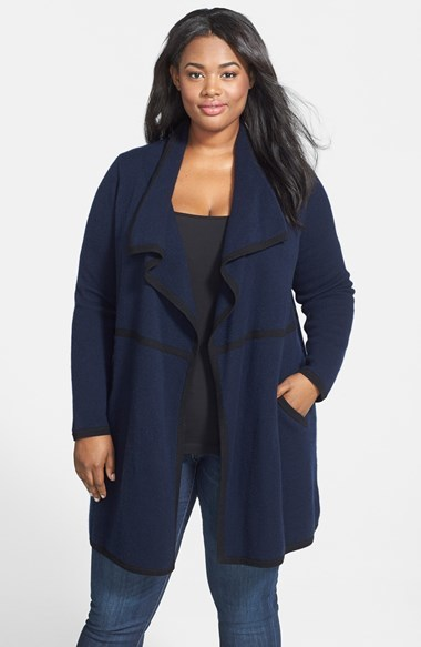Drape Front Long Cashmere Cardigan (Plus Size) - neckline: waterfall neck; style: open front; predominant colour: navy; secondary colour: black; occasions: casual, creative work; fit: loose; length: mid thigh; fibres: cashmere - 100%; sleeve length: long sleeve; sleeve style: standard; texture group: knits/crochet; pattern type: knitted - fine stitch; pattern size: light/subtle; pattern: colourblock; season: a/w 2014