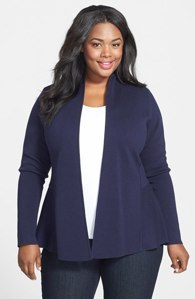Silk & Cotton Knit Open Front Peplum Jacket (Plus Size) - pattern: plain; length: below the bottom; neckline: collarless open; back detail: contrast pattern/fabric at back; style: open front; predominant colour: navy; occasions: casual, evening, work, creative work; fibres: silk - mix; fit: standard fit; sleeve length: long sleeve; sleeve style: standard; texture group: knits/crochet; pattern type: knitted - other; trends: statement knits; season: a/w 2014