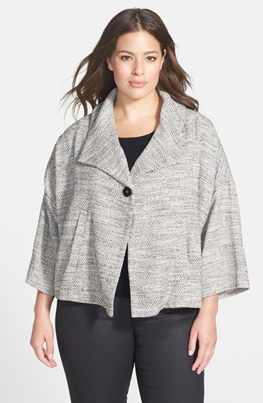 Herringbone Swing Jacket (Plus Size) - style: single breasted blazer; collar: wide lapels; fit: loose; pattern: herringbone/tweed; predominant colour: white; secondary colour: light grey; occasions: casual, evening, creative work; length: standard; fibres: cotton - mix; sleeve length: 3/4 length; sleeve style: standard; collar break: medium; pattern type: fabric; pattern size: light/subtle; texture group: woven light midweight; season: a/w 2014