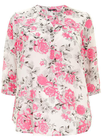 Pink Floral Print Blouse - style: blouse; predominant colour: ivory/cream; secondary colour: hot pink; occasions: casual, creative work; length: standard; neckline: collarstand & mandarin with v-neck; fit: straight cut; sleeve length: 3/4 length; sleeve style: standard; pattern type: fabric; pattern: florals; texture group: other - light to midweight; fibres: viscose/rayon - mix; season: a/w 2014; pattern size: big & busy (top); embellishment location: bust