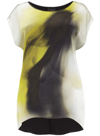 Live Unlimited Black & Lime Brush Stroke Print Top - neckline: round neck; length: below the bottom; predominant colour: white; secondary colour: yellow; occasions: casual, creative work; style: top; fibres: polyester/polyamide - 100%; fit: body skimming; sleeve length: short sleeve; sleeve style: standard; texture group: sheer fabrics/chiffon/organza etc.; pattern type: fabric; pattern size: standard; pattern: patterned/print; season: a/w 2014