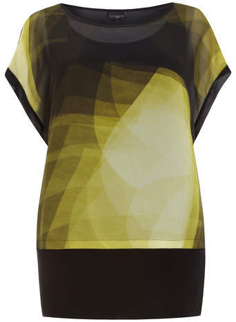 Live Unlimited Black Print Layer Top - neckline: round neck; sleeve style: dolman/batwing; length: below the bottom; predominant colour: yellow; secondary colour: black; occasions: casual; style: top; fibres: polyester/polyamide - 100%; fit: loose; sleeve length: short sleeve; texture group: sheer fabrics/chiffon/organza etc.; pattern type: fabric; pattern size: standard; pattern: patterned/print; season: a/w 2014