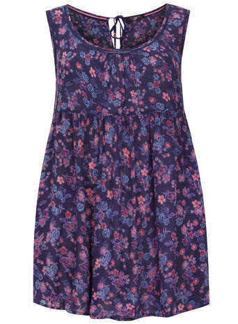 : Floral Wrap Back Top - neckline: round neck; sleeve style: sleeveless; length: below the bottom; occasions: casual; style: top; fibres: viscose/rayon - 100%; fit: loose; back detail: keyhole/peephole detail at back; predominant colour: multicoloured; sleeve length: sleeveless; texture group: cotton feel fabrics; pattern type: fabric; pattern size: standard; pattern: florals; season: a/w 2014; multicoloured: multicoloured