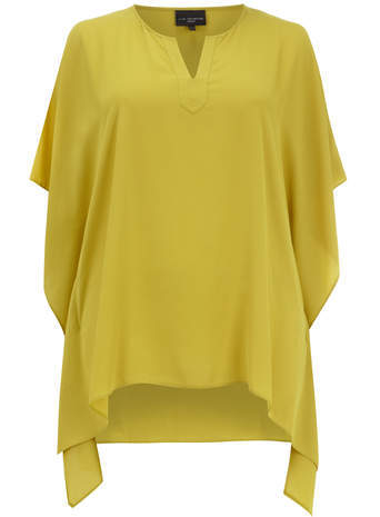 Live Unlimited Lime Shaped Hem Kaftan Top - neckline: v-neck; sleeve style: dolman/batwing; pattern: plain; length: below the bottom; style: kaftan; predominant colour: mustard; occasions: casual; fibres: polyester/polyamide - 100%; fit: loose; back detail: longer hem at back than at front; sleeve length: 3/4 length; pattern type: fabric; texture group: other - light to midweight; season: a/w 2014