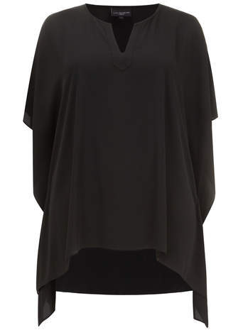 Live Unlimited Black Shaped Hem Kaftan Top - neckline: v-neck; sleeve style: dolman/batwing; pattern: plain; length: below the bottom; style: kaftan; predominant colour: black; occasions: casual; fibres: polyester/polyamide - 100%; fit: loose; back detail: longer hem at back than at front; sleeve length: 3/4 length; pattern type: fabric; texture group: jersey - stretchy/drapey; season: a/w 2014