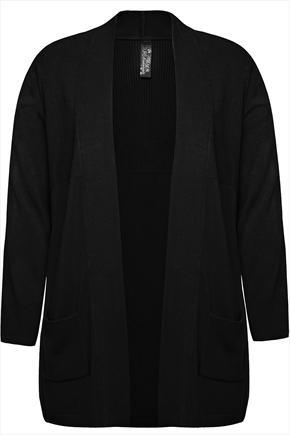 Black Edge To Edge Supersoft Knitted Cardigan With Pockets & Ribbing - pattern: plain; length: below the bottom; neckline: collarless open; style: open front; predominant colour: black; occasions: casual; fibres: acrylic - 100%; fit: standard fit; sleeve length: long sleeve; sleeve style: standard; texture group: knits/crochet; season: a/w 2014