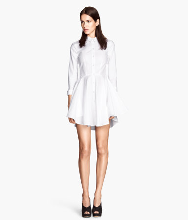 Shirt Dress - style: shirt; length: mid thigh; neckline: shirt collar/peter pan/zip with opening; fit: fitted at waist; pattern: plain; bust detail: buttons at bust (in middle at breastbone)/zip detail at bust; predominant colour: white; occasions: casual, creative work; fibres: cotton - 100%; hip detail: soft pleats at hip/draping at hip/flared at hip; sleeve length: long sleeve; sleeve style: standard; texture group: cotton feel fabrics; pattern type: fabric; season: a/w 2014