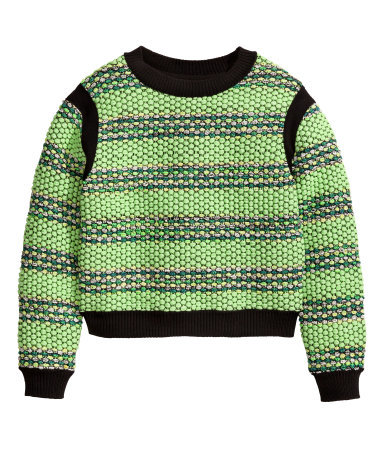 Jumper In A Textured Knit - pattern: horizontal stripes; style: standard; predominant colour: pistachio; secondary colour: black; occasions: casual, creative work; length: standard; fibres: cotton - mix; fit: standard fit; neckline: crew; sleeve length: long sleeve; sleeve style: standard; texture group: knits/crochet; pattern type: knitted - other; pattern size: standard; trends: statement knits; season: a/w 2014