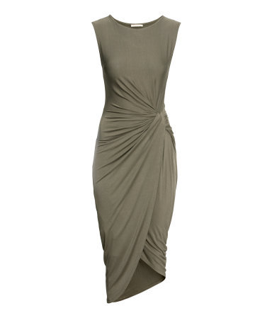 Draped Dress - neckline: round neck; pattern: plain; sleeve style: sleeveless; waist detail: twist front waist detail/nipped in at waist on one side/soft pleats/draping/ruching/gathering waist detail; predominant colour: khaki; occasions: evening; length: just above the knee; fit: body skimming; style: asymmetric (hem); fibres: viscose/rayon - stretch; hip detail: soft pleats at hip/draping at hip/flared at hip; back detail: longer hem at back than at front; sleeve length: sleeveless; texture group: jersey - clingy; pattern type: fabric; season: a/w 2014