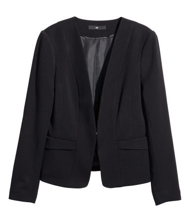 Figure Fit Jacket - pattern: plain; style: single breasted blazer; collar: round collar/collarless; predominant colour: black; occasions: work, creative work; length: standard; fit: tailored/fitted; fibres: polyester/polyamide - stretch; sleeve length: long sleeve; sleeve style: standard; collar break: low/open; pattern type: fabric; texture group: other - light to midweight; season: a/w 2014