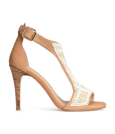 Beaded Sandals - secondary colour: white; predominant colour: nude; occasions: evening, occasion; heel height: high; embellishment: beading; ankle detail: ankle strap; heel: stiletto; toe: open toe/peeptoe; style: standard; finish: plain; pattern: plain; material: faux suede; season: a/w 2014