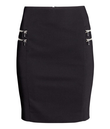 Pencil Skirt - length: mid thigh; pattern: plain; style: pencil; fit: tailored/fitted; waist: high rise; predominant colour: black; occasions: work, creative work; fibres: polyester/polyamide - stretch; pattern type: fabric; texture group: other - light to midweight; embellishment: zips; season: a/w 2014; wardrobe: highlight; embellishment location: hip