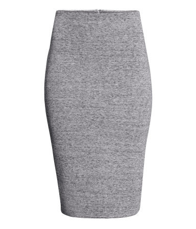 Pencil Skirt - length: below the knee; style: pencil; fit: tight; waist: high rise; predominant colour: mid grey; occasions: casual, work, creative work; fibres: polyester/polyamide - stretch; texture group: jersey - clingy; pattern type: fabric; pattern: marl; season: a/w 2014; pattern size: light/subtle (bottom)