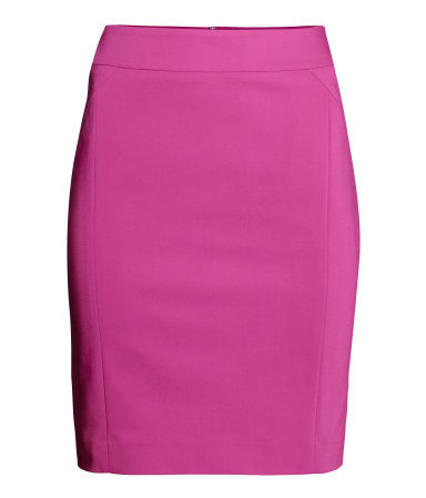 Knee Length Skirt - length: mid thigh; pattern: plain; style: pencil; fit: tailored/fitted; waist: high rise; predominant colour: hot pink; occasions: evening, creative work; fibres: cotton - stretch; texture group: jersey - clingy; pattern type: fabric; trends: zesty shades; season: a/w 2014
