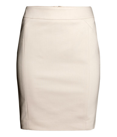 Knee Length Skirt - length: mid thigh; pattern: plain; style: pencil; fit: tailored/fitted; waist: high rise; predominant colour: ivory/cream; occasions: evening, creative work; fibres: cotton - stretch; pattern type: fabric; texture group: other - light to midweight; season: a/w 2014