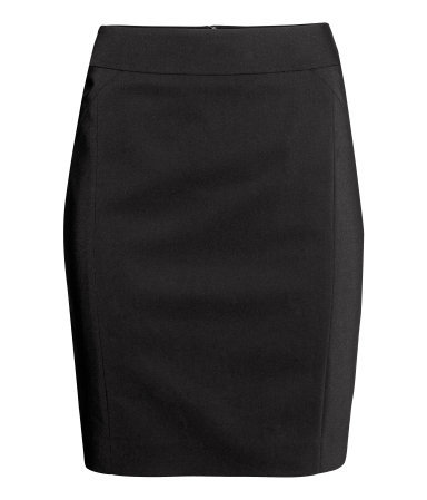 Knee Length Skirt - length: mid thigh; pattern: plain; style: pencil; fit: tailored/fitted; waist: high rise; predominant colour: black; occasions: work, creative work; fibres: cotton - stretch; pattern type: fabric; texture group: other - light to midweight; season: a/w 2014