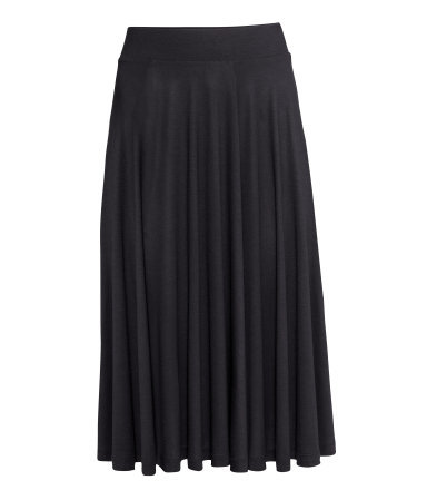Circular Skirt - length: calf length; pattern: plain; fit: loose/voluminous; style: pleated; waist detail: elasticated waist; waist: high rise; predominant colour: black; occasions: casual, work, creative work; fibres: viscose/rayon - 100%; hip detail: subtle/flattering hip detail; pattern type: fabric; texture group: jersey - stretchy/drapey; season: a/w 2014; wardrobe: basic
