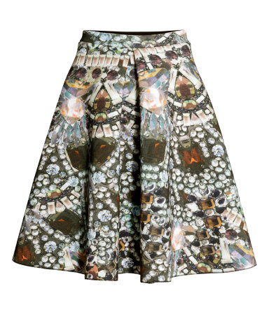 Patterned Skirt - style: full/prom skirt; fit: loose/voluminous; waist: high rise; occasions: evening, creative work; length: on the knee; fibres: viscose/rayon - 100%; hip detail: adds bulk at the hips; predominant colour: multicoloured; pattern type: fabric; pattern: patterned/print; texture group: jersey - stretchy/drapey; trends: optic prints, artesanal details; season: a/w 2014; pattern size: big & busy (bottom); multicoloured: multicoloured