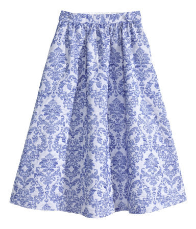 Flared Skirt - length: below the knee; style: full/prom skirt; fit: loose/voluminous; waist: high rise; secondary colour: white; predominant colour: royal blue; fibres: cotton - mix; occasions: occasion, creative work; hip detail: subtle/flattering hip detail; waist detail: feature waist detail; texture group: ornate wovens; pattern type: fabric; pattern: patterned/print; season: a/w 2014; pattern size: big & busy (bottom)