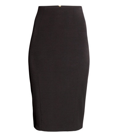 Pencil Skirt - pattern: plain; style: pencil; fit: tight; waist: high rise; predominant colour: black; occasions: evening, work, creative work; length: on the knee; fibres: viscose/rayon - stretch; texture group: jersey - clingy; pattern type: fabric; season: a/w 2014